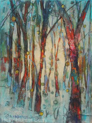 Abstract Landscape Tree Art Painting 'Quiet Time' by Passionate Purposeful Painter Holly Hunter Berry