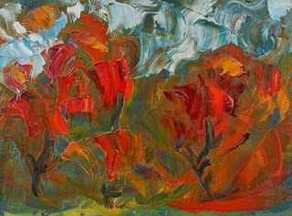 """Abstract Flower Oil Painting """"Garden to Tend"""" by Colorado Impressionist Judith Babcock"""