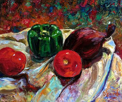 """Still Life Impressionist Painting Art on Canvas """"Onion and Friends"""" By Debra Hurd"""