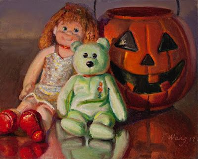 Halloween still life oil painting kids