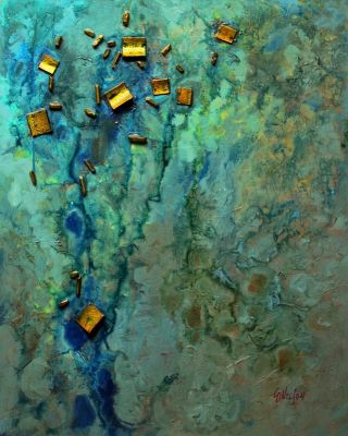 Mixed Media Abstract Painting, 'Sunken Treasure' © Carol Nelson Fine Art