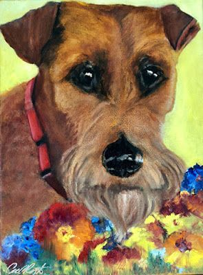 "Pet portrait, Dog Portrait Painting, Fine Art ""Ruby"" by California Artist Cecelia Catherine Rappaport"