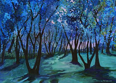 "Contemporary Landscape Painting, Trees, Forest, Blue Art ""Follow the Music"" by Contemporary Artist Liz Thoresen"