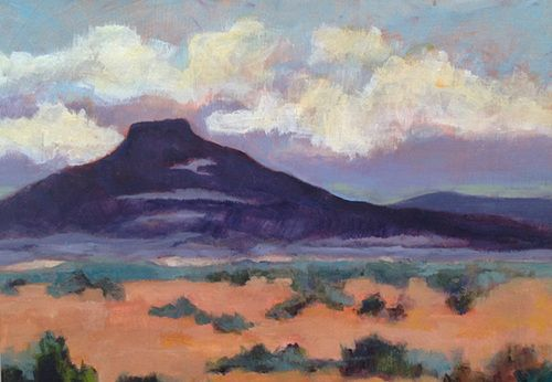"Contemporary New Mexico Landscape Painting ""PEDERNAL EVENING"" by Santa Fe Artist Annie O'Brien Gonzales"