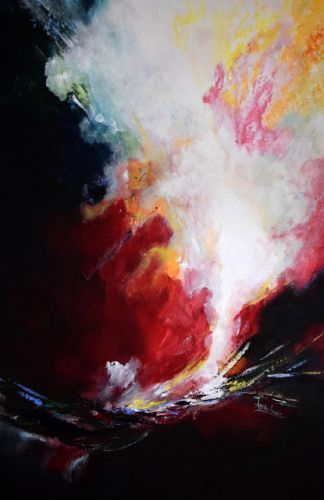"Contemporary Landscape, Abstract Painting ""Precipice of Life"" by International Contemporary Artist Arrachme"