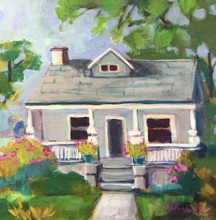 "Bold Expressive Art, Cottage, House, Architecture, Landscape, Contemporary Art ""Sweet Home"" by Santa Fe Artist Annie O'Brien Gonzales"