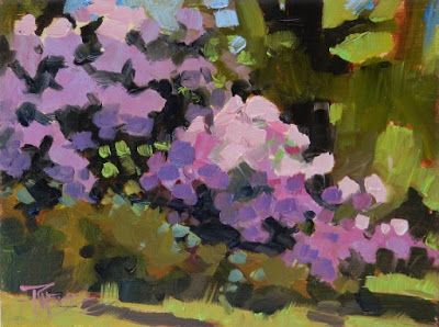 """Pink Rhodies"" Seattle Arboretum, plein air painting by Robin Weiss"