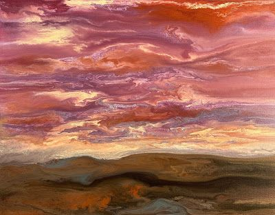 "Abstract Landscape, Sunset Painting, Contemporary Landscape ""Harmonious Reflections IV"" by International Contemporary Artist Kimberly Conrad"