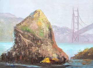 Rock and Bridge, oils,canvas,Barbara Haviland-Artist of Texas