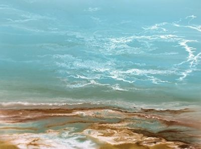 Contemporary Abstract Seascape Painting Beach Art Coastal Decor 'A Song From the Gulf' by Colorado Contemporary Artist Kimberly Conrad