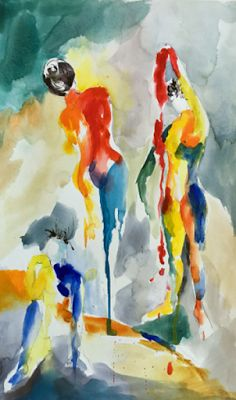 "Watercolor/acrylic ""Painted Ladies"" by Hawaii Artist Arlene G. Woo"