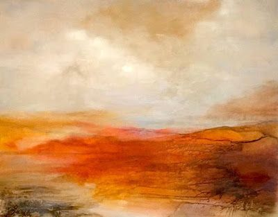 """Abstract Landscape Painting, Sunset """"Valley Beyond"""" by California Artist Cecelia Catherine Rappaport"""