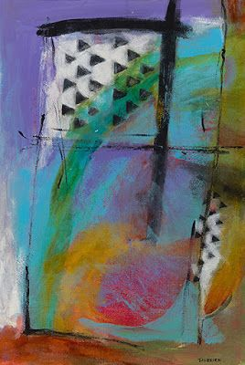 """Contemporary Art, Abstract Painting, Expressionism, Mixed Media """"FORCE OF TRIANGLES"""" by Contemporary Artist Liz Thoresen"""