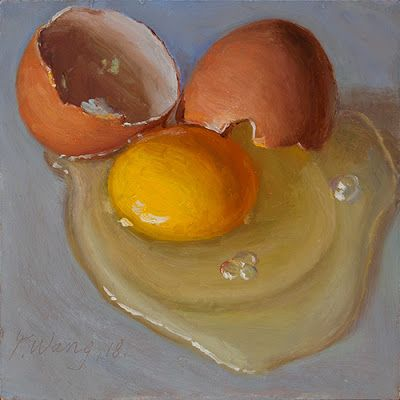 A cracked egg, still life oil painting small daily painting a day food painting for kitchen