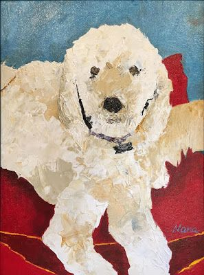 "Abstract Dog Art Painting ""NEW BED FOR BARLEY"" by Oklahoma Artist Nancy Junkin"