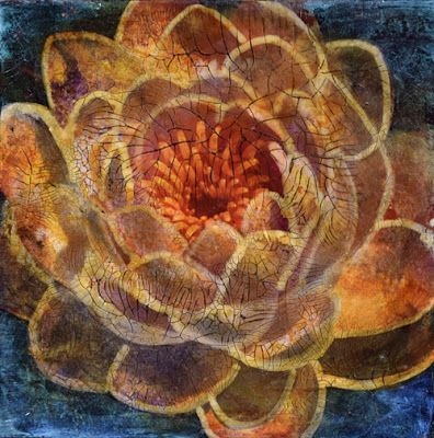 "Mixed Media Flower Art Painting ""ON THE WATER"" by Santa Fe Contemporary Artist Sandra Duran Wilson"