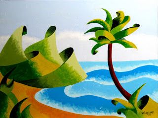 Mark Webster - Abstract Geometric Island with Palm Tree Seascape Oil Painting