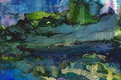 Original Contemporary Abstract Mixed Media, Alcohol Ink Painting 'TAHITI' by Contemporary New Orleans Artist Lou Jordan