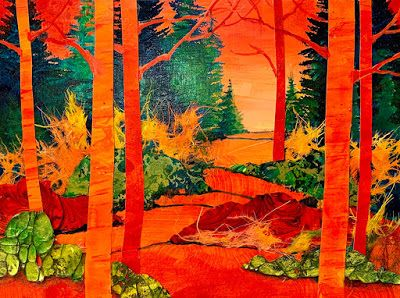 "Abstract Landscape, Trees, Contemporary Painting, ""Red Woods"" by Carol Nelson Fine Art"