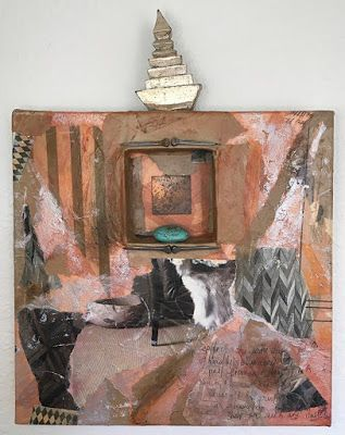 "Mixed Media Art, Found Objects "" Hidden Treasure"" by Contemporary Expressionist Pamela Fowler Lordi"