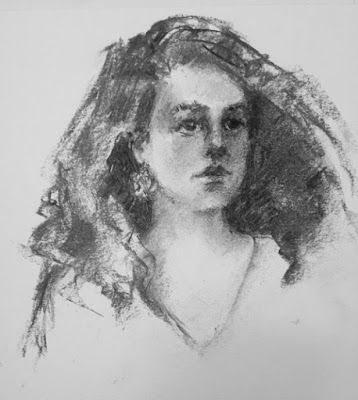 Charcoal Portrait of a Young Woman - original black and white artwork