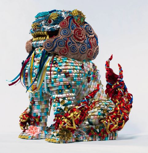 Ceremonial Dragons and Colorful Cactus Gardens Formed from Intricately Worked Ribbon