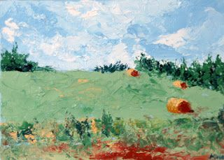 Mark Webster - The Hay Bales Palette Knife Oil Painting