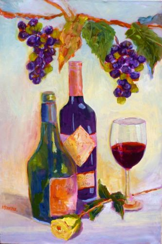 Wine and Yellow Rose, Acrylic Painting, Old Post Office Museum and Art Center, Graham, Texas by Texas Artist Nancy Standlee