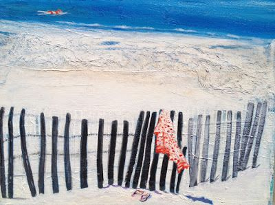 "Contemporary Beach,Seascape,Ocean Painting ""Afternoon Swim"" by California Artist, Cecelia Catherine Rappaport"
