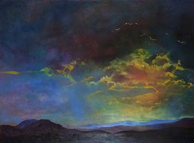 "Contemporary Landscape Fine Art Oil Painting, Sunset, Mountains ""Evening Delight"" by Colorado Artist Susan Fowler"