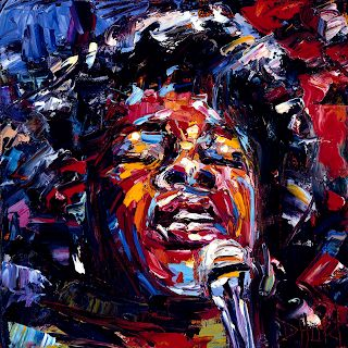 "Abstract Jazz Music Art Portrait Painting ""Sarah Vaughan"" by Texas Artist Debra Hurd"