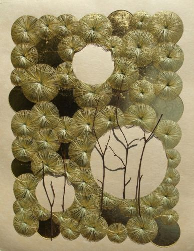 Dried Grass and Branches are Woven and Stitched into Delicate Sculptural Drawings by Kazuhito Takadoi