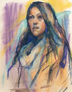 PURPLE + YELLOW SKETCH - pastel by Susan Roden