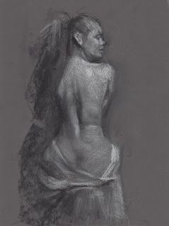 Seated female nude backside drawing