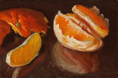 Pealed orange slices fruit still life oil painting original aceo daily painting a day
