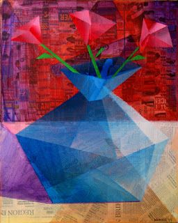 Mark Webster - Roses in a Translucent Blue Vase - Mixed Media on Stretched Canvas