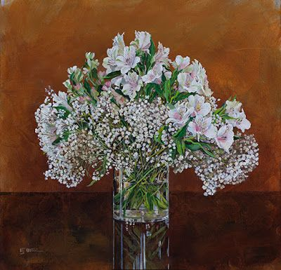 "Still Life Floral Painting, Alstroemeria, Flower Painting, Fine Art ""Baby's Breath"" by Colorado Artist Nancee Jean Busse, Painter of the American West"