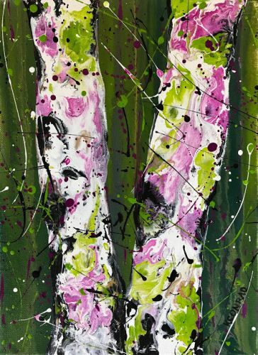 """Aspen Tree Painting,Birch Trees, Abstract Landscape """"Time Out for Fun"""" by Colorado Contemporary Landscape Artist Kimberly Conrad"""