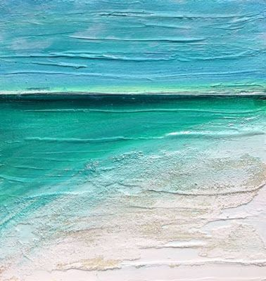 """Mixed Media Abstract Seascape Painting """"SWEET SUNSET"""" by California Artist Cecelia Catherine Rappaport"""
