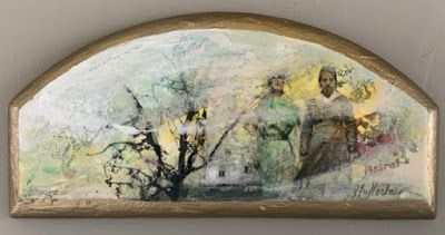 "Contemporary Mixed Media Painting, Arched Canvas, Figures, House, ""Steadfast"" by Intuitive Artist Joan Fullerton"