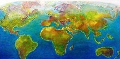 """Map, Landscape, Mixed Media Art Painting """"The World"""" by Cecelia Catherine Rappaport"""