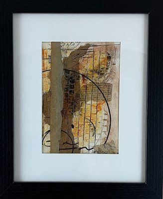 "Abstract Art, Mixed Media, Contemporary Painting, Collage ""Cabinet Meeting"" by Texas Contemporary Artist Sharon Whisnand"