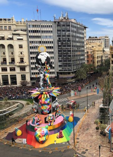 Artist Okuda San Miguel Sets a 82-Foot Sculpture Aflame for the Falles Festival in Valencia