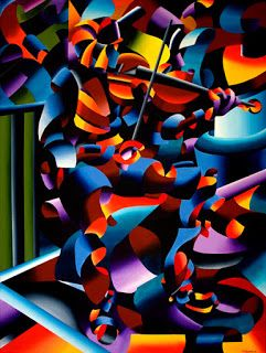Mark Webster - The Violin Player in Paris - Abstract Futurist Figurative Oil Painting