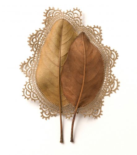 Found Leaves with Delicate Crochet Embellishments by Susanna Bauer