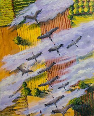 "Contemporary Wildlife Bird Painting ""Fly South"" by Colorado Artist Nancee Jean Busse, Painter of the American West"