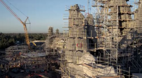 Drone Flyover Shows Construction Progress on Disney's Star Wars Theme Parks