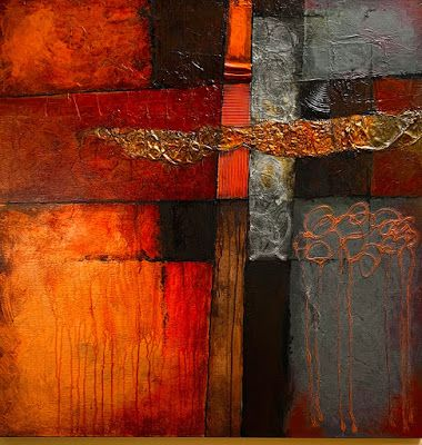 "Abstract Mixed Media Art Painting ""Crossroads"" by Colorado Mixed Media Abstract Artist Carol Nelson"