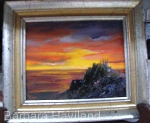 Sunset and Rocks, miniature oil painting,Barbara Haviland-Artist of Texas