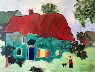 """Expressionist Landscape, Green House, Red Roof, """"In My Little Town"""" by Oklahoma Artist Nancy Junkin"""